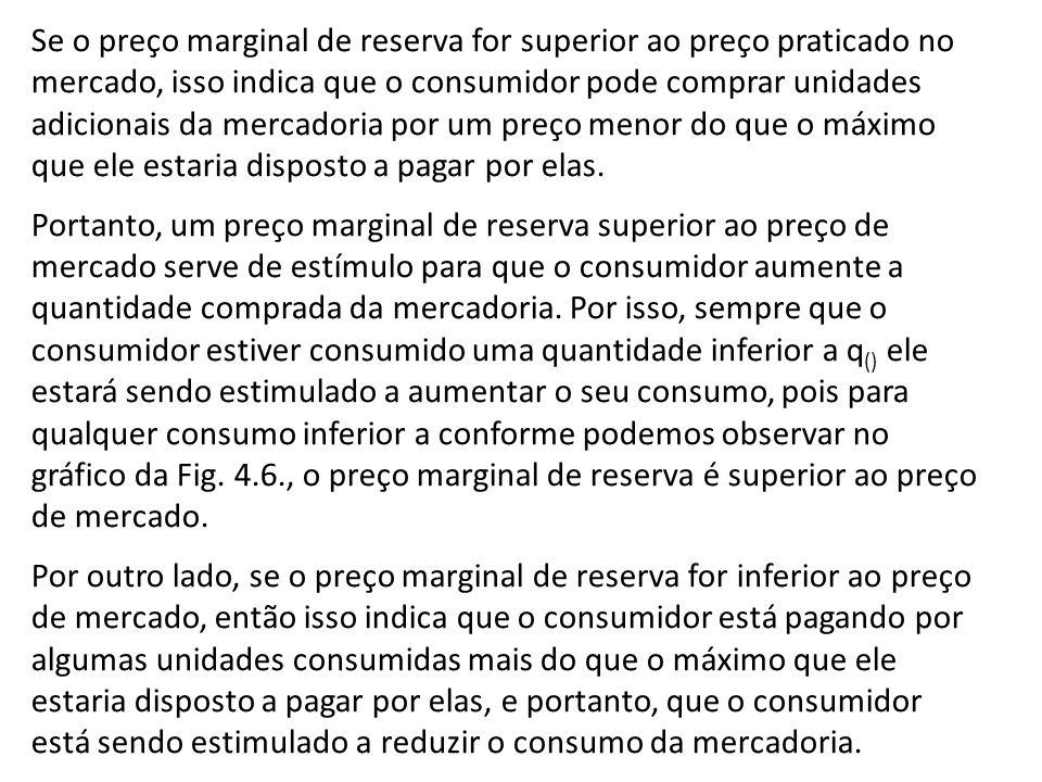 Se o preço marginal de reserva for superior ao preço praticado no mercado, isso indica que o consumidor pode comprar unidades adicionais da mercadoria por um preço menor do que o máximo que ele estaria disposto a pagar por elas.