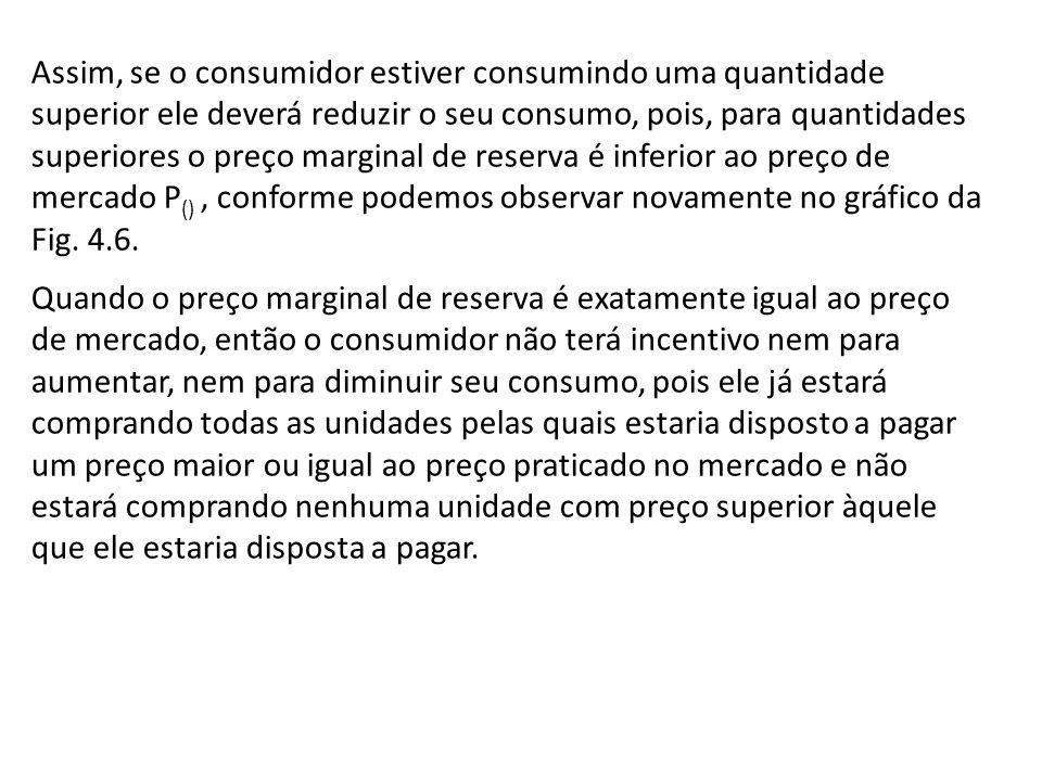 Assim, se o consumidor estiver consumindo uma quantidade superior ele deverá reduzir o seu consumo, pois, para quantidades superiores o preço marginal