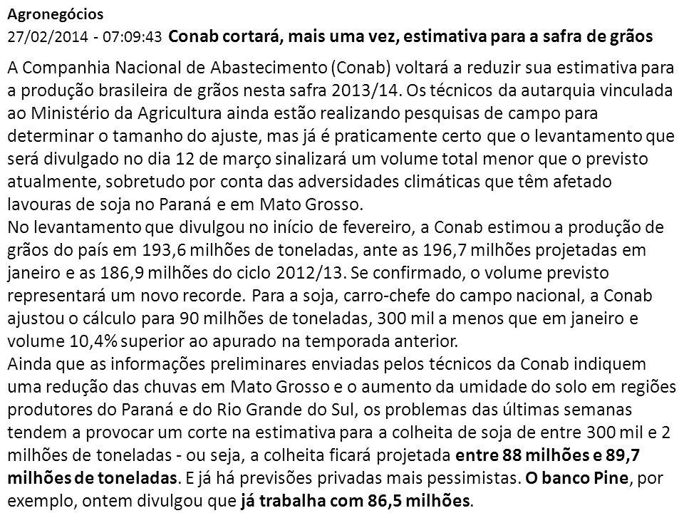 Agronegócios 27/02/2014 - 07:09:43 Conab cortará, mais uma vez, estimativa para a safra de grãos A Companhia Nacional de Abastecimento (Conab) voltará a reduzir sua estimativa para a produção brasileira de grãos nesta safra 2013/14.