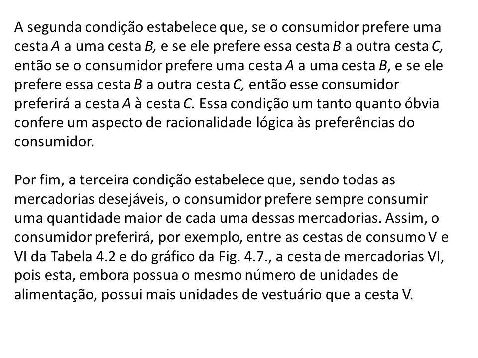 A segunda condição estabelece que, se o consumidor prefere uma cesta A a uma cesta B, e se ele prefere essa cesta B a outra cesta C, então se o consum