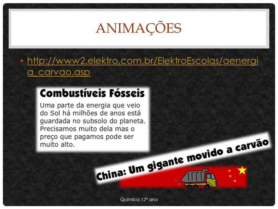 ANIMAÇÕES http://www2.elektro.com.br/ElektroEscolas/aenergi a_carvao.asp http://www2.elektro.com.br/ElektroEscolas/aenergi a_carvao.asp Química 12º an