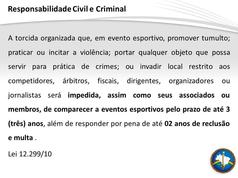 Responsabilidade Civil e Criminal A torcida organizada que, em evento esportivo, promover tumulto; praticar ou incitar a violência; portar qualquer ob