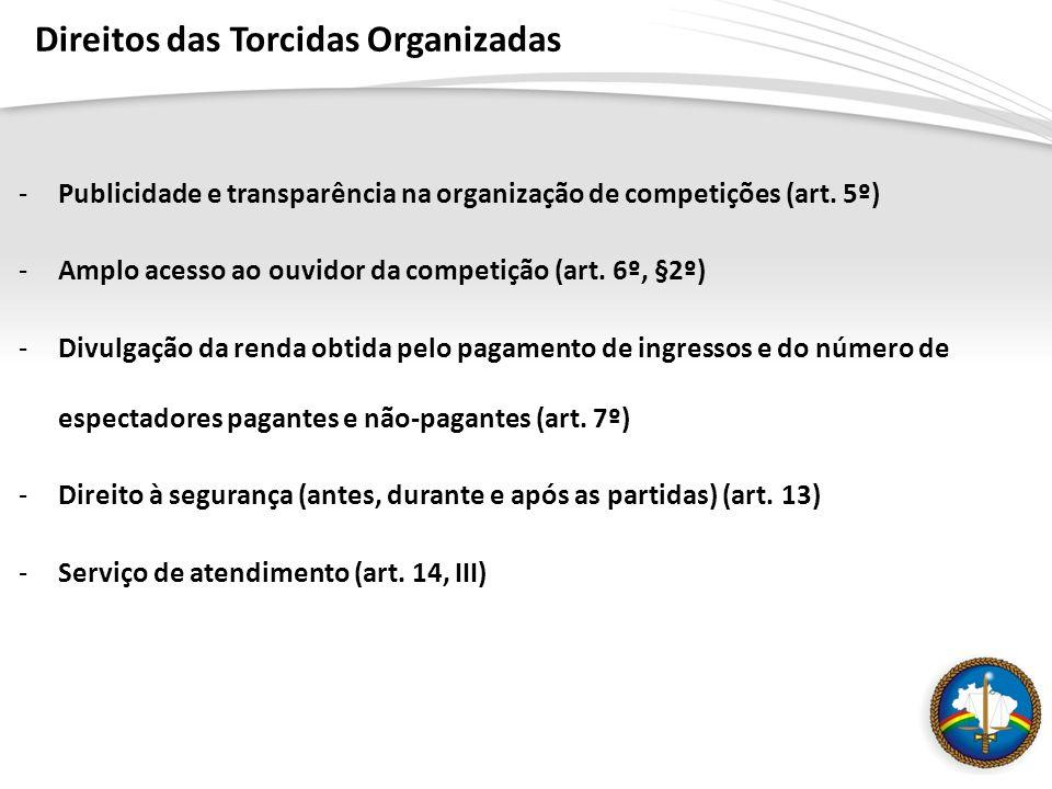-Publicidade e transparência na organização de competições (art. 5º) -Amplo acesso ao ouvidor da competição (art. 6º, §2º) -Divulgação da renda obtida