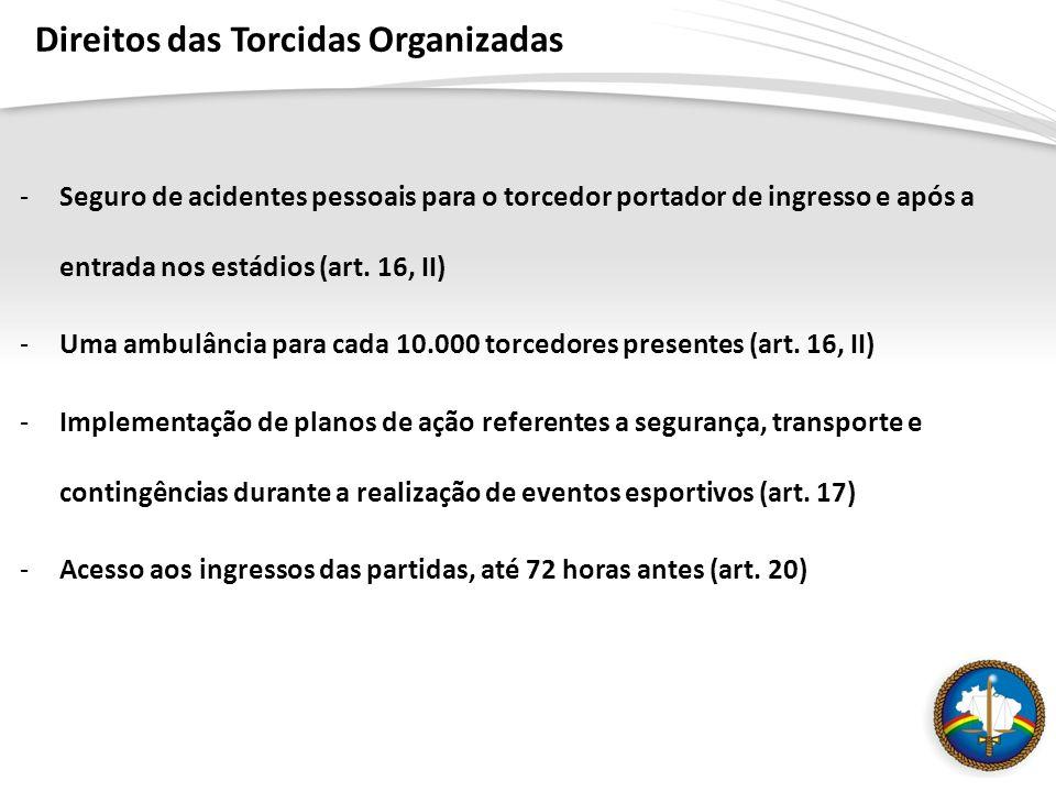 Direitos das Torcidas Organizadas -Seguro de acidentes pessoais para o torcedor portador de ingresso e após a entrada nos estádios (art.