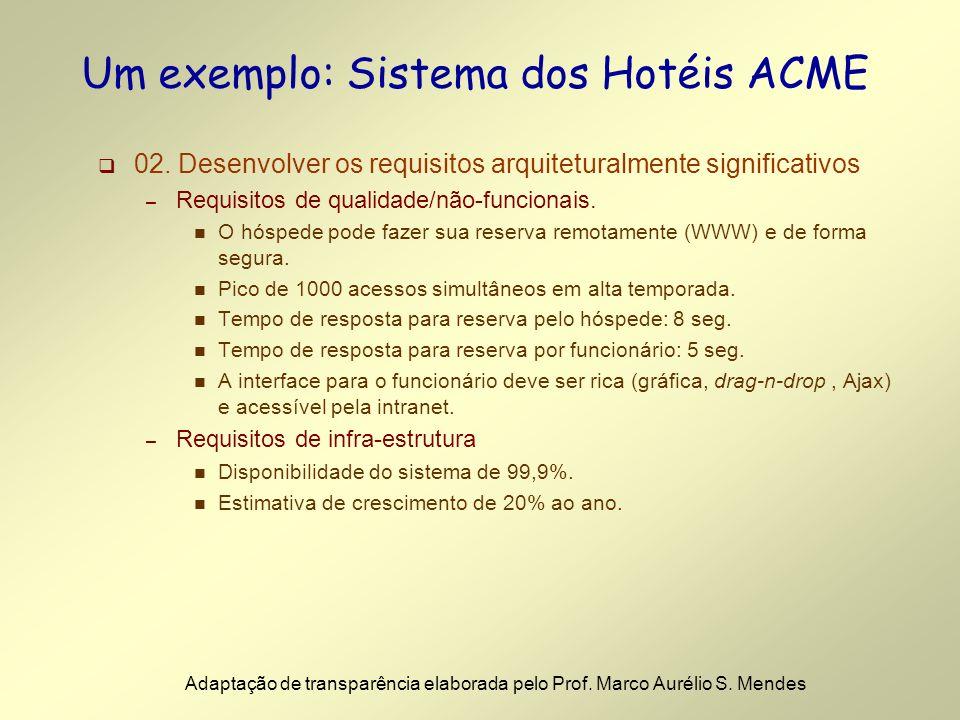 02. Desenvolver os requisitos arquiteturalmente significativos – Requisitos de qualidade/não-funcionais. n O hóspede pode fazer sua reserva remotament