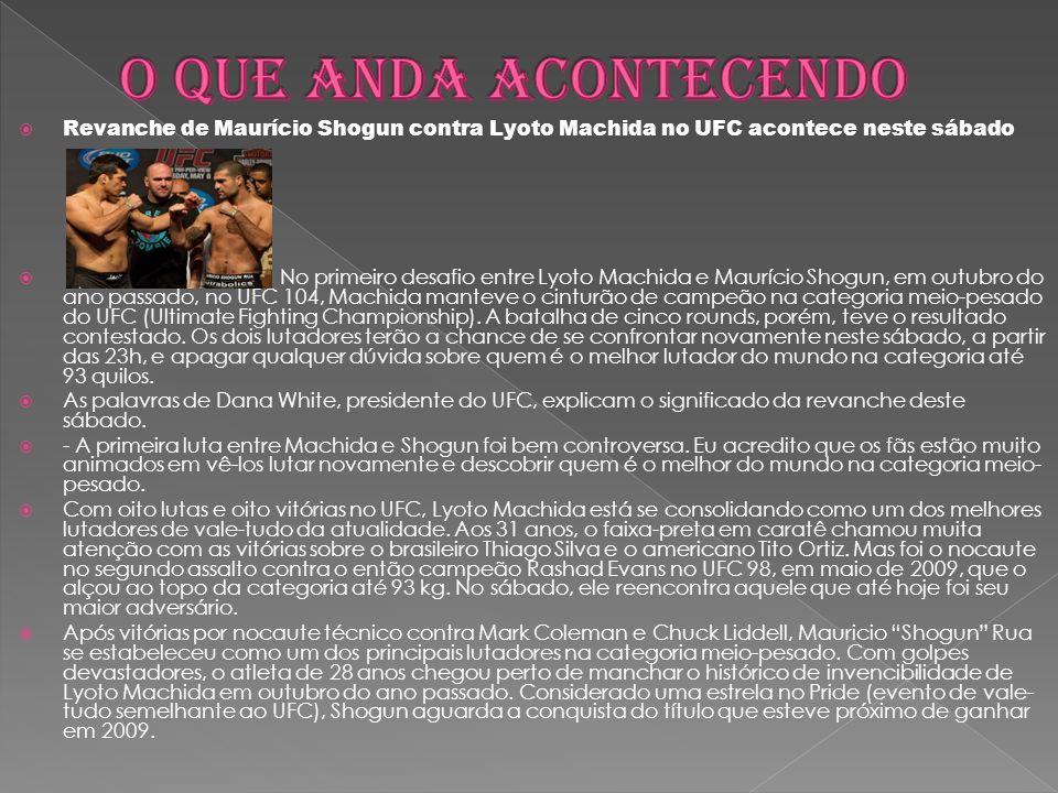Revanche de Maurício Shogun contra Lyoto Machida no UFC acontece neste sábado No primeiro desafio entre Lyoto Machida e Maurício Shogun, em outubro do