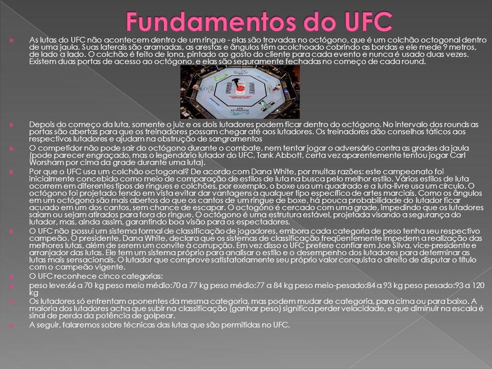 As lutas do UFC não acontecem dentro de um ringue - elas são travadas no octógono, que é um colchão octogonal dentro de uma jaula. Suas laterais são a