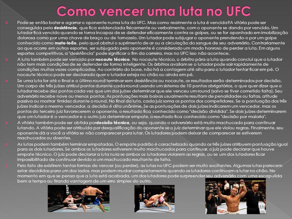 Pode-se então bater e agarrar o oponente numa luta do UFC. Mas como realmente a luta é vencida?A vitória pode ser conseguida pela desistência, que fic