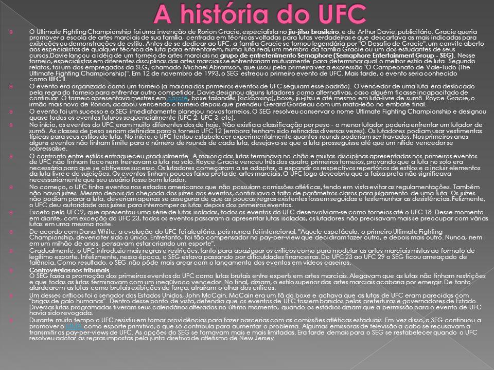 O Ultimate Fighting Championship foi uma invenção de Rorion Gracie, especialista no jiu-jítsu brasileiro, e de Arthur Davie, publicitário. Gracie quer