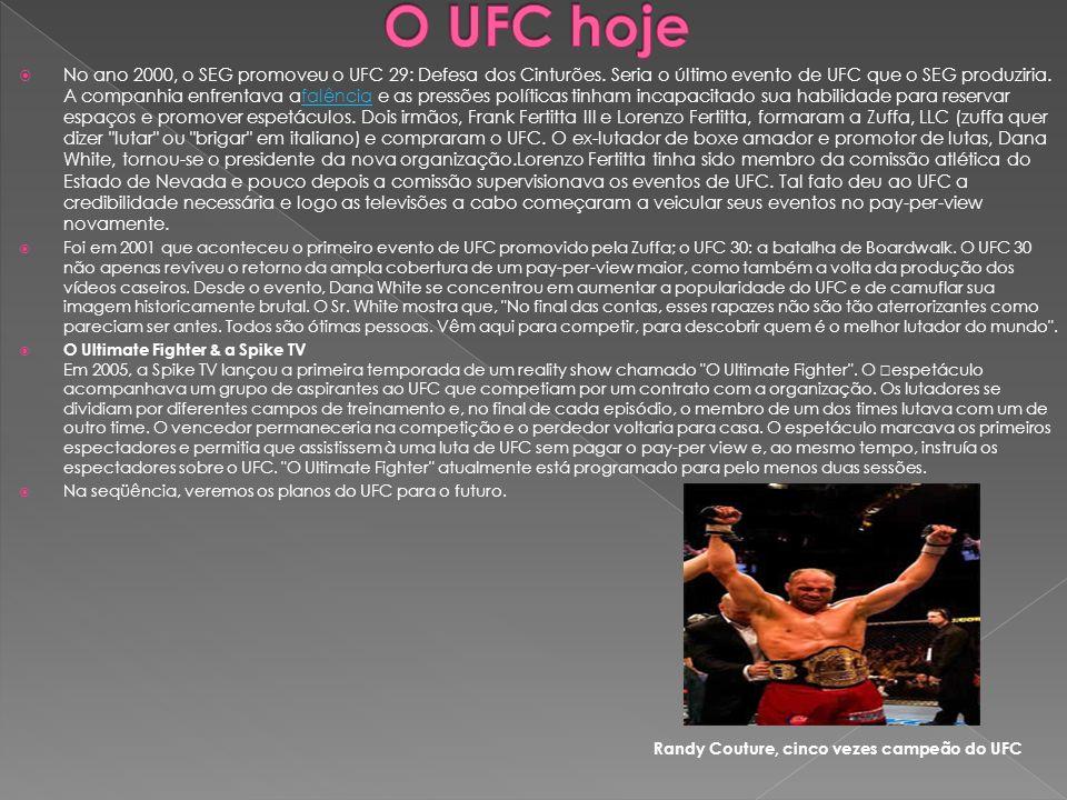 No ano 2000, o SEG promoveu o UFC 29: Defesa dos Cinturões. Seria o último evento de UFC que o SEG produziria. A companhia enfrentava afalência e as p