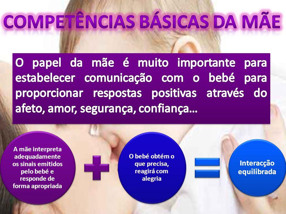 A mãe interpreta adequadamente os sinais emitidos pelo bebé e responde de forma apropriada O bebé obtém o que precisa, reagirá com alegria Interacção equilibrada