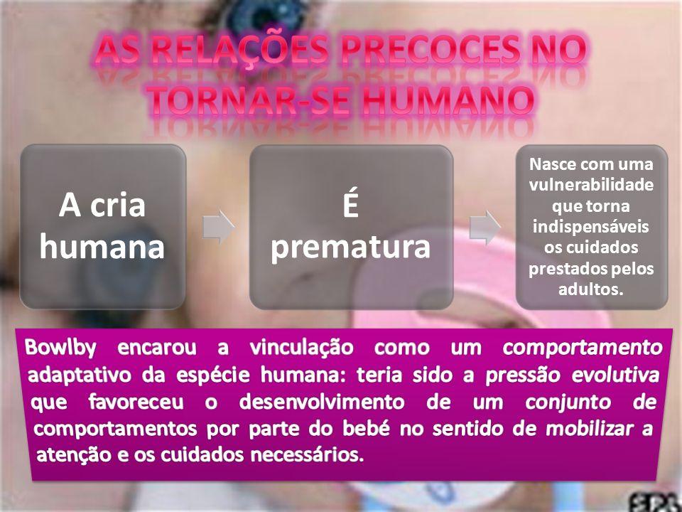 A cria humana É prematura Nasce com uma vulnerabilidade que torna indispensáveis os cuidados prestados pelos adultos.