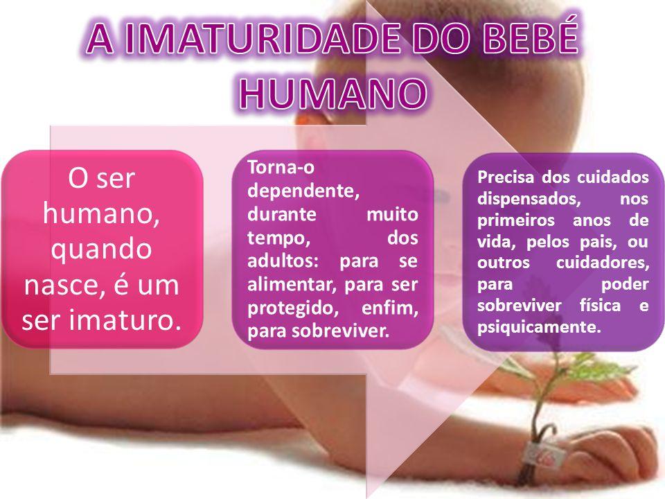O ser humano, quando nasce, é um ser imaturo. Torna-o dependente, durante muito tempo, dos adultos: para se alimentar, para ser protegido, enfim, para