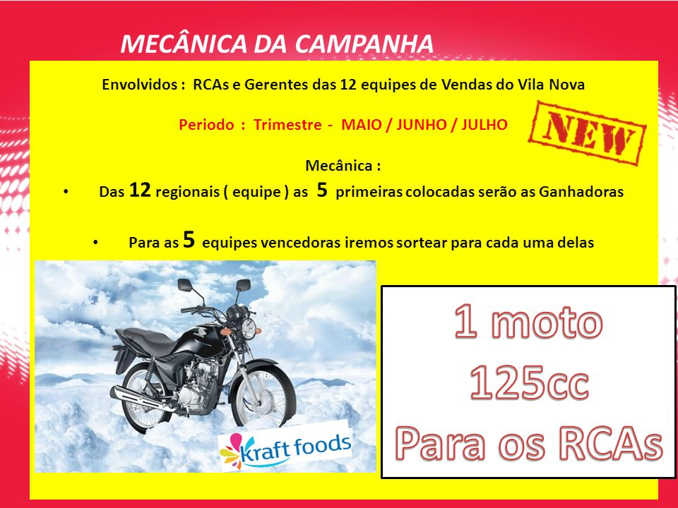 Envolvidos : RCAs e Gerentes das 12 equipes de Vendas do Vila Nova Periodo : Trimestre - MAIO / JUNHO / JULHO Mecânica : Das 12 regionais ( equipe ) a