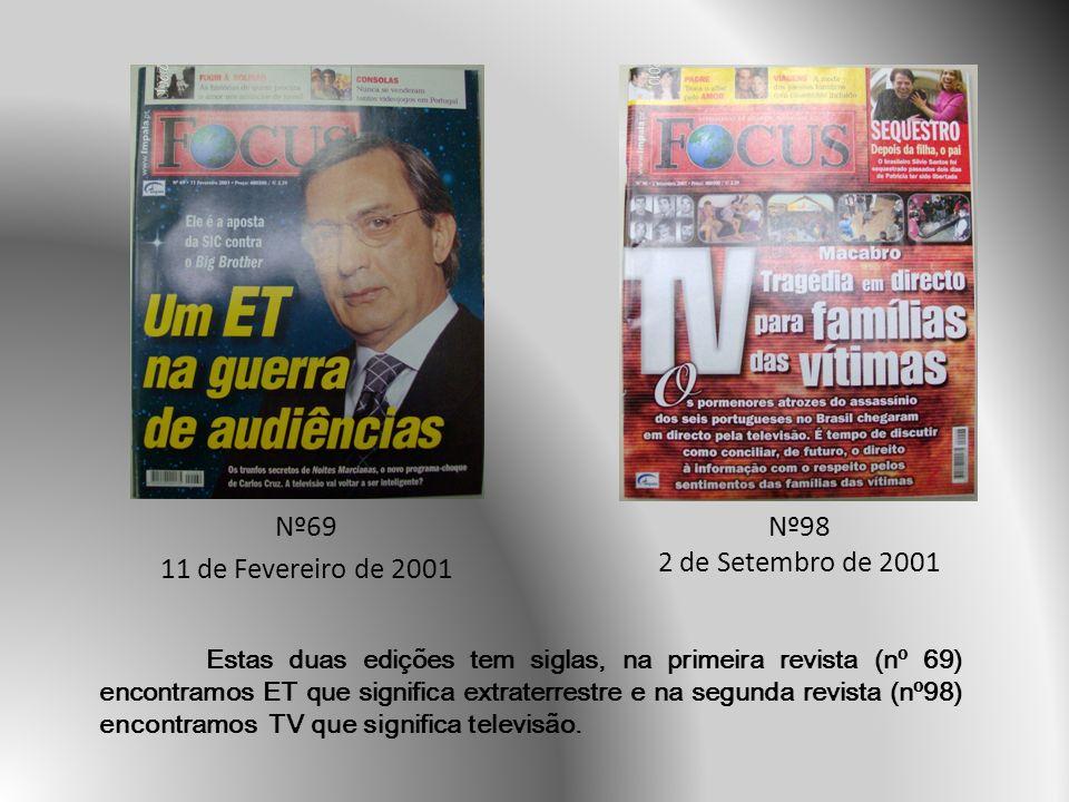 Nº69 11 de Fevereiro de 2001 Nº98 2 de Setembro de 2001 Estas duas edições tem siglas, na primeira revista (nº 69) encontramos ET que significa extraterrestre e na segunda revista (nº98) encontramos TV que significa televisão.