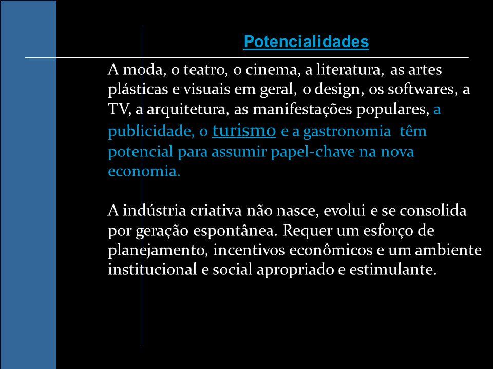 A moda, o teatro, o cinema, a literatura, as artes plásticas e visuais em geral, o design, os softwares, a TV, a arquitetura, as manifestações populares, a publicidade, o turismo e a gastronomia têm potencial para assumir papel-chave na nova economia.