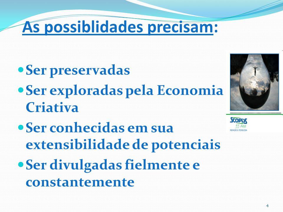 As possiblidades precisam: Ser preservadas Ser exploradas pela Economia Criativa Ser conhecidas em sua extensibilidade de potenciais Ser divulgadas fielmente e constantemente 4