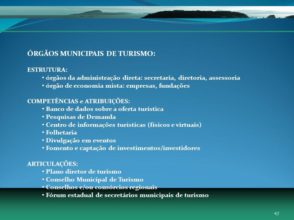 ÓRGÃOS MUNICIPAIS DE TURISMO: ESTRUTURA: órgãos da administração direta: secretaria, diretoria, assessoria órgão de economia mista: empresas, fundaçõe