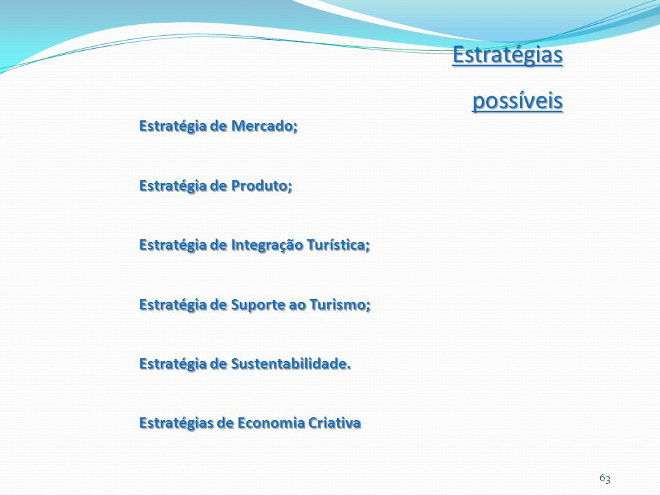 Estratégia de Mercado; Estratégia de Produto; Estratégia de Integração Turística; Estratégia de Suporte ao Turismo; Estratégia de Sustentabilidade. Es