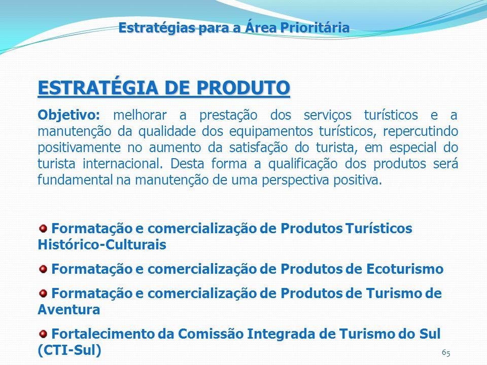 ESTRATÉGIA DE PRODUTO Objetivo: melhorar a prestação dos serviços turísticos e a manutenção da qualidade dos equipamentos turísticos, repercutindo positivamente no aumento da satisfação do turista, em especial do turista internacional.