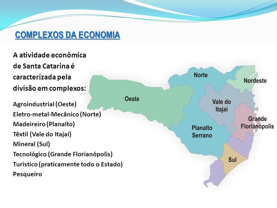 COMPLEXOS DA ECONOMIA A atividade econômica de Santa Catarina é caracterizada pela divisão em complexos: Agroindustrial (Oeste) Eletro-metal-Mecânico (Norte) Madeireiro (Planalto) Têxtil (Vale do Itajaí) Mineral (Sul) Tecnológico (Grande Florianópolis) Turístico (praticamente todo o Estado) Pesqueiro
