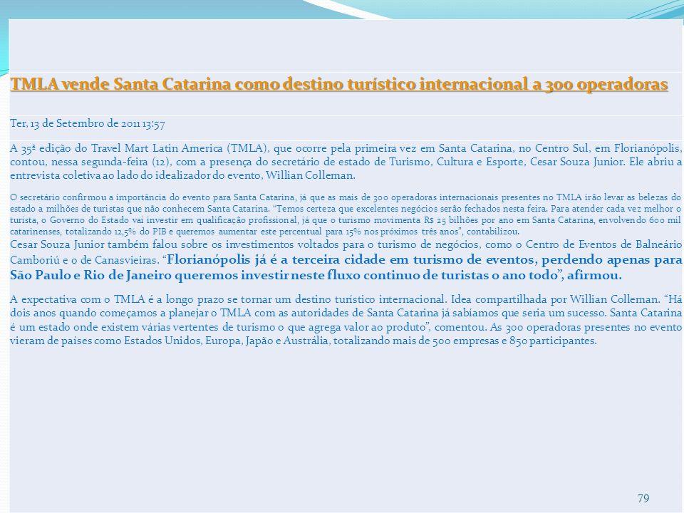 TMLA vende Santa Catarina como destino turístico internacional a 300 operadoras TMLA vende Santa Catarina como destino turístico internacional a 300 o