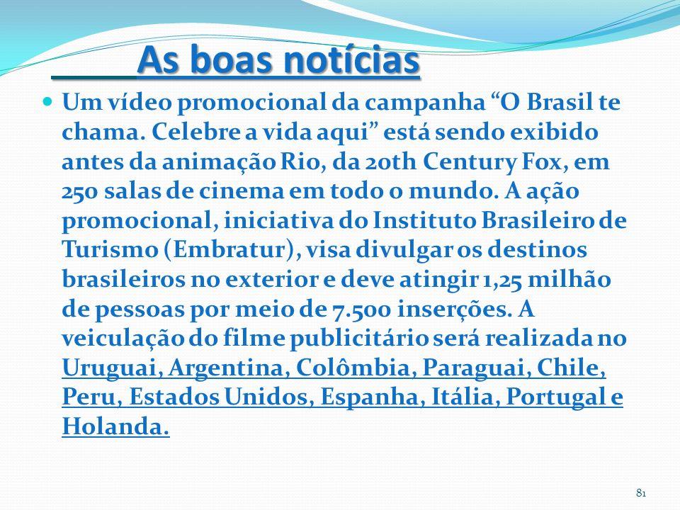 As boas notícias As boas notícias Um vídeo promocional da campanha O Brasil te chama. Celebre a vida aqui está sendo exibido antes da animação Rio, da