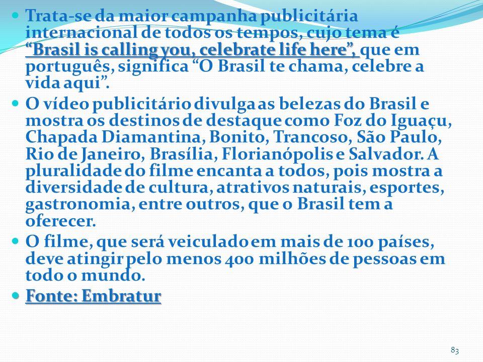 Brasil is calling you, celebrate life here, Trata-se da maior campanha publicitária internacional de todos os tempos, cujo tema é Brasil is calling you, celebrate life here, que em português, significa O Brasil te chama, celebre a vida aqui.