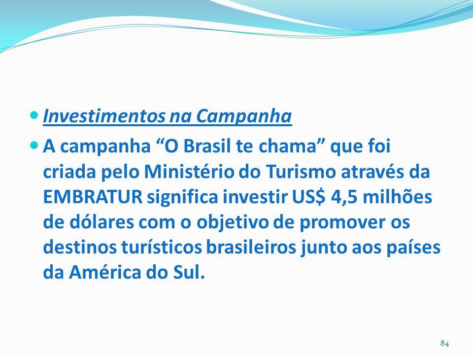 Investimentos na Campanha A campanha O Brasil te chama que foi criada pelo Ministério do Turismo através da EMBRATUR significa investir US$ 4,5 milhões de dólares com o objetivo de promover os destinos turísticos brasileiros junto aos países da América do Sul.