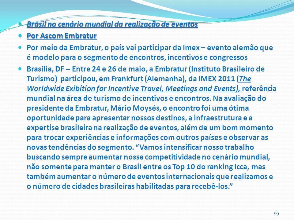 Brasil no cenário mundial da realização de eventos Brasil no cenário mundial da realização de eventos Por Ascom Embratur Por Ascom Embratur Por meio d