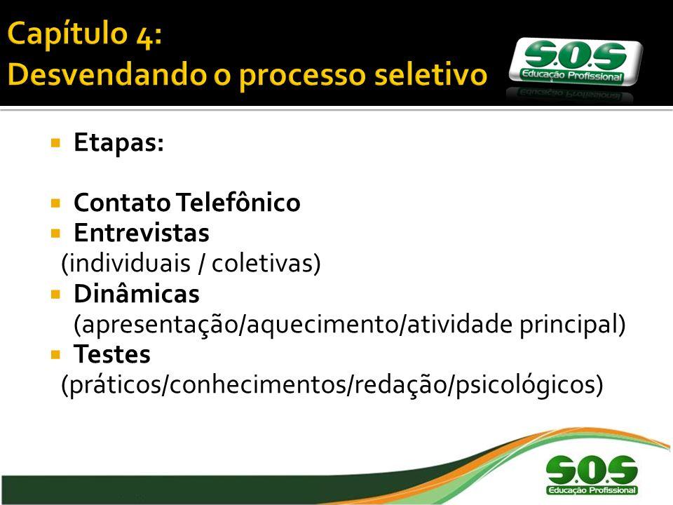 Etapas: Contato Telefônico Entrevistas (individuais / coletivas) Dinâmicas (apresentação/aquecimento/atividade principal) Testes (práticos/conhecimentos/redação/psicológicos)