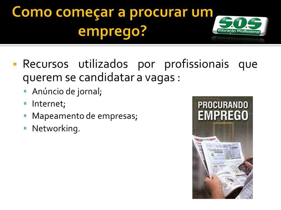 Recursos utilizados por profissionais que querem se candidatar a vagas : Anúncio de jornal; Internet; Mapeamento de empresas; Networking.