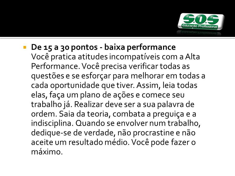 De 15 a 30 pontos - baixa performance Você pratica atitudes incompatíveis com a Alta Performance.