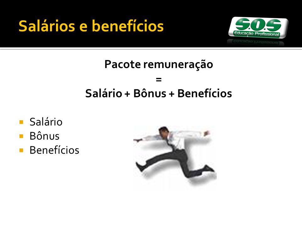 Pacote remuneração = Salário + Bônus + Benefícios Salário Bônus Benefícios Salários e benefícios