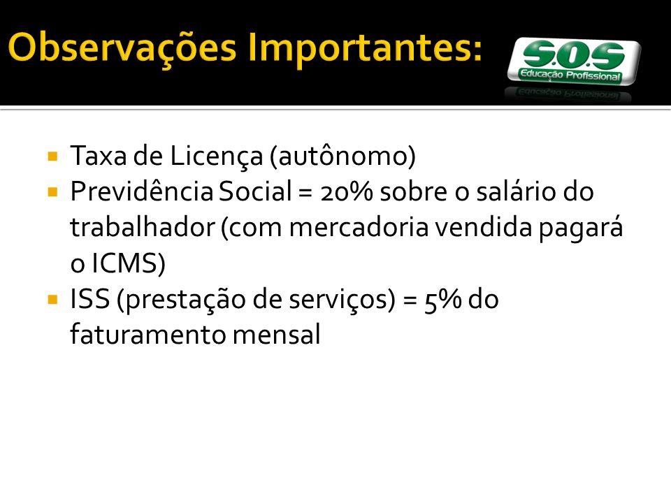 Taxa de Licença (autônomo) Previdência Social = 20% sobre o salário do trabalhador (com mercadoria vendida pagará o ICMS) ISS (prestação de serviços) = 5% do faturamento mensal