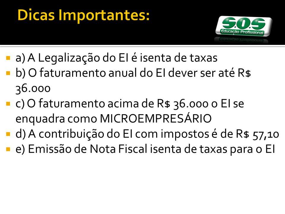 a) A Legalização do EI é isenta de taxas b) O faturamento anual do EI dever ser até R$ 36.000 c) O faturamento acima de R$ 36.000 o EI se enquadra como MICROEMPRESÁRIO d) A contribuição do EI com impostos é de R$ 57,10 e) Emissão de Nota Fiscal isenta de taxas para o EI