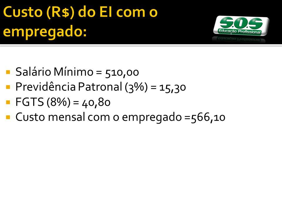 Salário Mínimo = 510,00 Previdência Patronal (3%) = 15,30 FGTS (8%) = 40,80 Custo mensal com o empregado =566,10