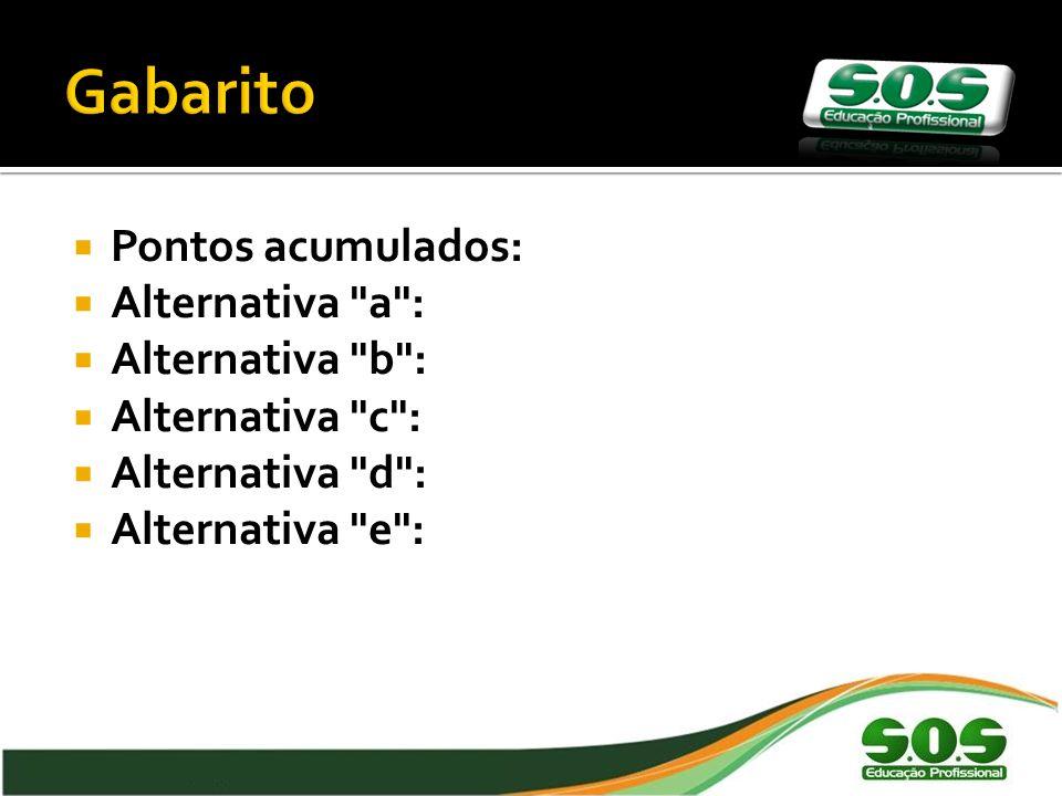 Pontos acumulados: Alternativa a : Alternativa b : Alternativa c : Alternativa d : Alternativa e : 41