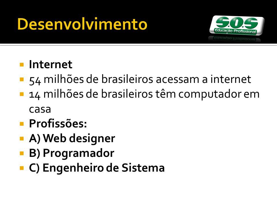 Internet 54 milhões de brasileiros acessam a internet 14 milhões de brasileiros têm computador em casa Profissões: A) Web designer B) Programador C) Engenheiro de Sistema