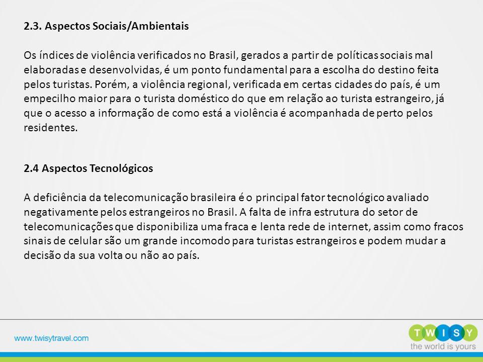 2.3. Aspectos Sociais/Ambientais Os índices de violência verificados no Brasil, gerados a partir de políticas sociais mal elaboradas e desenvolvidas,