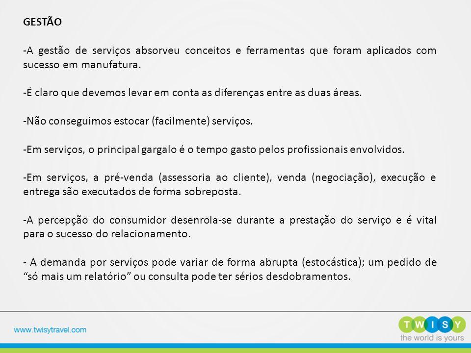 GESTÃO -A gestão de serviços absorveu conceitos e ferramentas que foram aplicados com sucesso em manufatura.