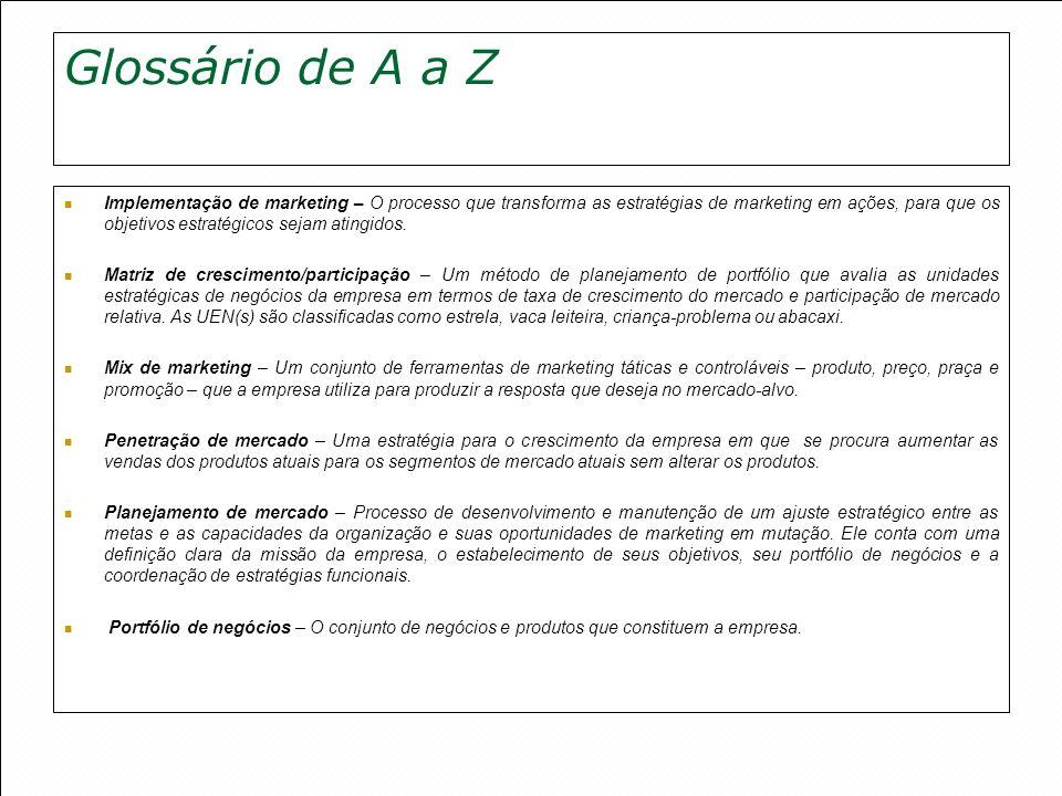 Glossário de A a Z Implementação de marketing – O processo que transforma as estratégias de marketing em ações, para que os objetivos estratégicos sej