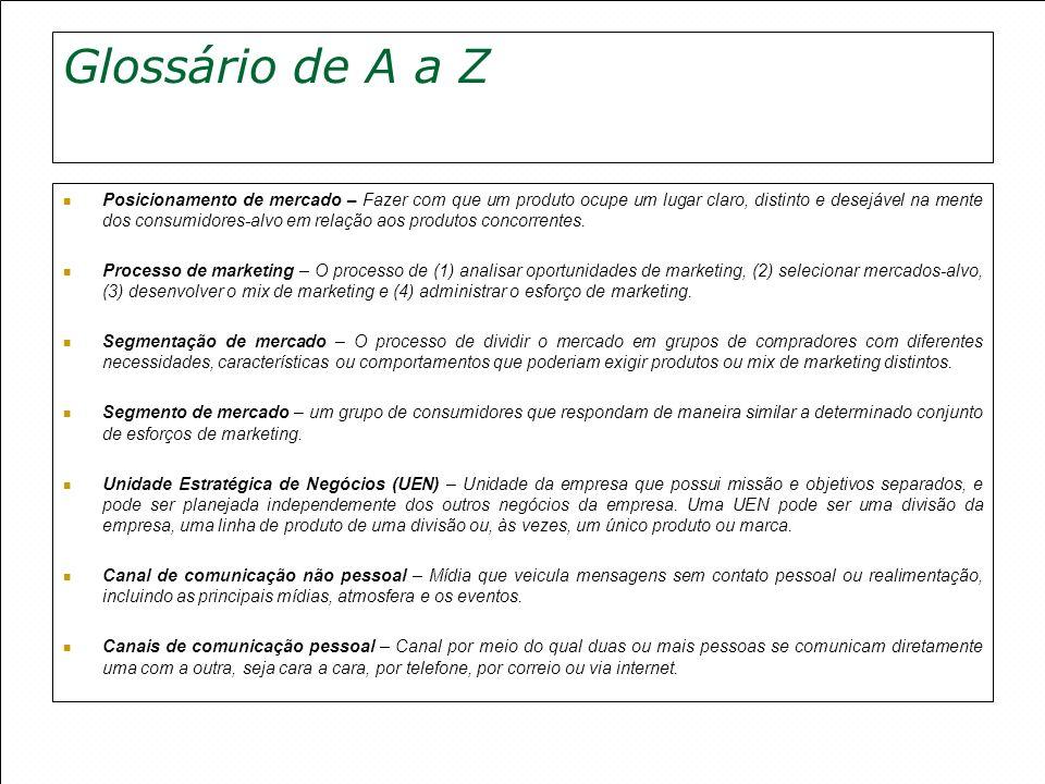 Glossário de A a Z Posicionamento de mercado – Fazer com que um produto ocupe um lugar claro, distinto e desejável na mente dos consumidores-alvo em r