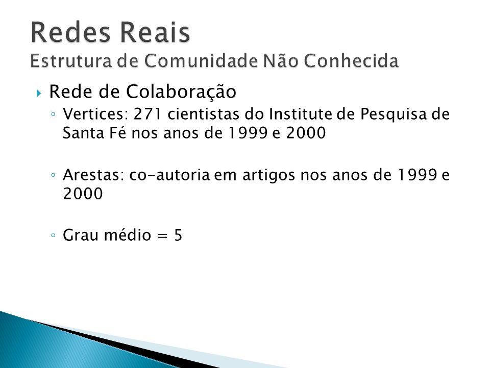 Rede de Colaboração Vertices: 271 cientistas do Institute de Pesquisa de Santa Fé nos anos de 1999 e 2000 Arestas: co-autoria em artigos nos anos de 1999 e 2000 Grau médio = 5