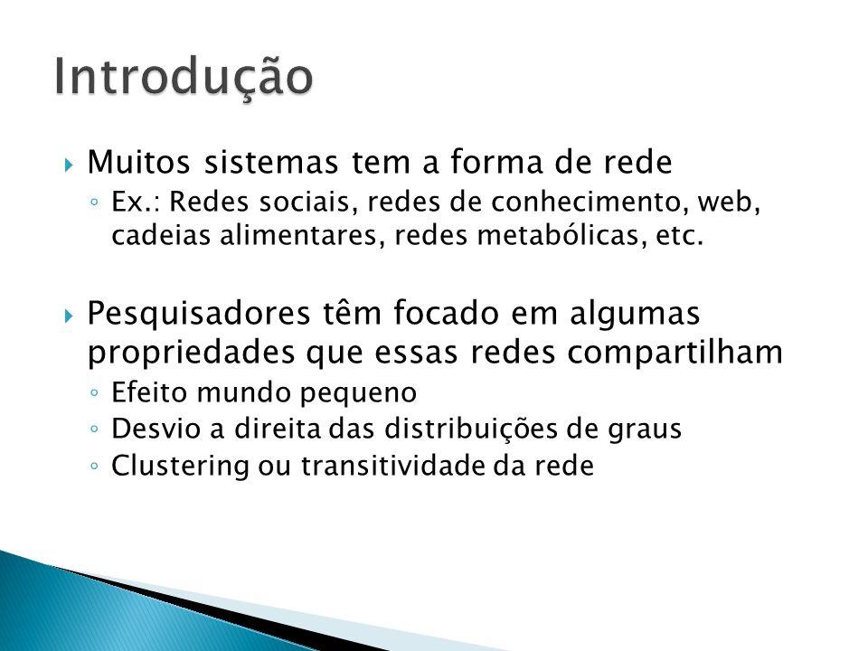 Muitos sistemas tem a forma de rede Ex.: Redes sociais, redes de conhecimento, web, cadeias alimentares, redes metabólicas, etc.