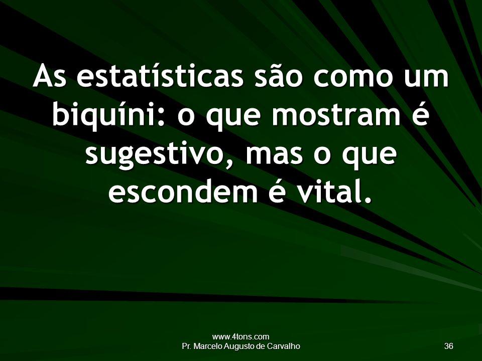 www.4tons.com Pr. Marcelo Augusto de Carvalho 36 As estatísticas são como um biquíni: o que mostram é sugestivo, mas o que escondem é vital.