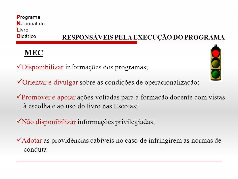 P rograma N acional do L ivro D idático RESPONSÁVEIS PELA EXECUÇÃO DO PROGRAMA MEC Disponibilizar informações dos programas; Orientar e divulgar sobre