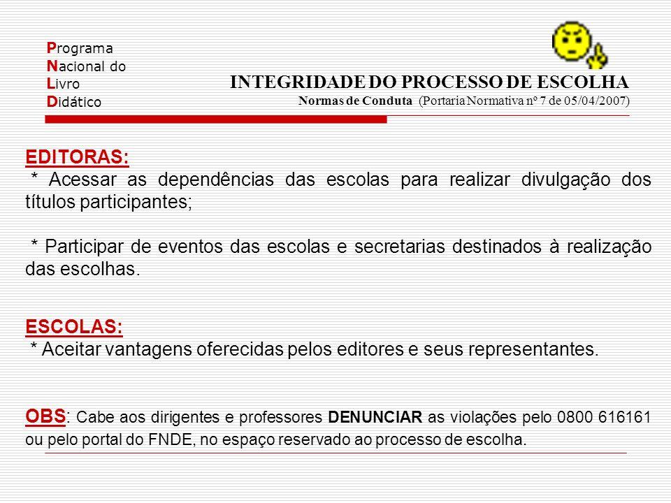 P rograma N acional do L ivro D idático INTEGRIDADE DO PROCESSO DE ESCOLHA Normas de Conduta (Portaria Normativa nº 7 de 05/04/2007) EDITORAS: * Acess