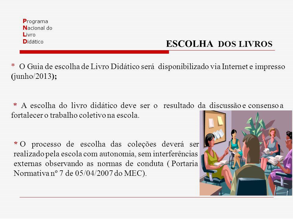 P rograma N acional do L ivro D idático * O processo de escolha das coleções deverá ser realizado pela escola com autonomia, sem interferências externas observando as normas de conduta ( Portaria Normativa nº 7 de 05/04/2007 do MEC).
