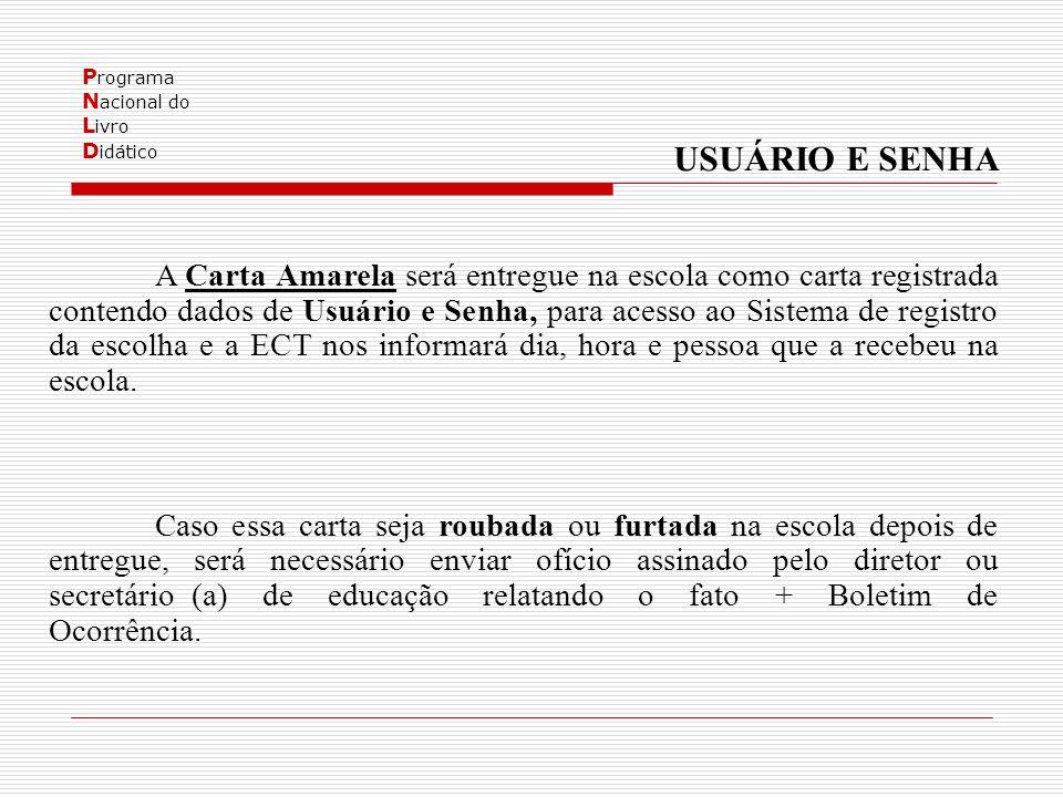 P rograma N acional do L ivro D idático USUÁRIO E SENHA A Carta Amarela será entregue na escola como carta registrada contendo dados de Usuário e Senh